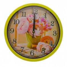 Ceas de perete, design cu flori, diametru 30 cm - CEAS07