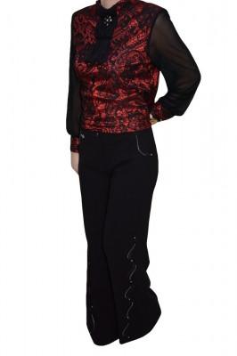 Pantalon cu insertii de strasuri argintii, nuanta de negru foto