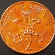 Moneda 2 (TW0) NEW PENCE- ANGLIA / MAREA BRITANIE, anul 1975  *cod 816 -  UNC