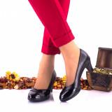 Pantofi dama din piele naturala si piele lacuita toc 5cm - NA119NPL, 36 - 40, Negru