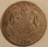 Regatul Romaniei - 5 Lei 1880 - Semnatura sub gat - Argint