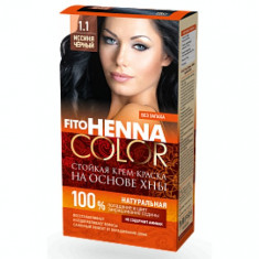 Vopsea de par permanenta fara amoniac FITO Henna Color 1.1 NEGRU ALBASTRUI