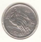 ITALIA - 500 LIRE 1961 - CENTENAR UNIFICARE , Ag835, LIT1.10, Europa