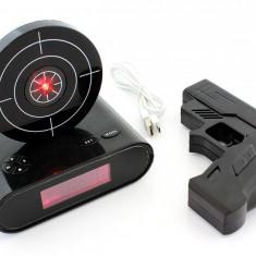 Ceas Desteptator cu Oprire Alarma cu Pistol Infrarosu, Afisaj LCD