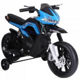 Homcom Motoreta Jucarie Suspensie Dubla Muzica si Lumini pentru Copii de la 3 la 8 ani Albastru Deschis