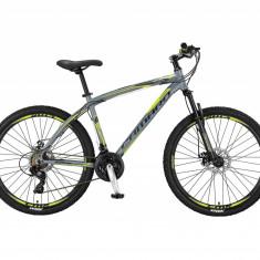 """Bicicleta MTB Umit Camaro 2D, Cadru 18"""" , 21 Viteze , Culoare Gri/Verde , Roata PB Cod:26610180002, Discuri"""