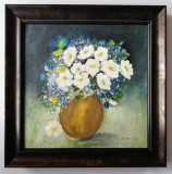 Tablou Vas cu Flori de camp pictura in ulei pe panza inramat 37x37cm