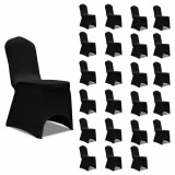Huse de scaun elastice, 24 buc., negru