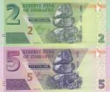 """Bancnota Zimbabwe 2 si 5 Dolari 2019 - PNew UNC ( hibrid , fara """"BOND NOTE"""" )"""