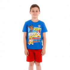Pijama baieti Paw Patrol Ruff Ruff Rescue tricou albastru cu pantaloni rosii