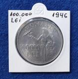 Moneda din Argint - 100.000 Lei 1946  Regele Mihai - PACEA