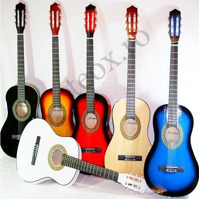 Chitara clasica din lemn, 86 cm marime medie incepatori 3/4  Corzi metalice Maro foto