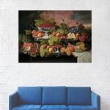 Tablou Canvas, Pictura cu Fruce, Masa cu Struguri - 60 x 90 cm