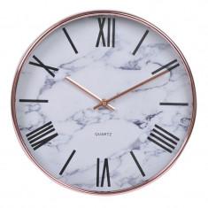 Ceas decorativ pentru perete, 31 cm, imprimeu stil marmura