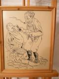 Desen in tus-La barbier-Aurel Jiquidi, Portrete, Cerneala, Impresionism