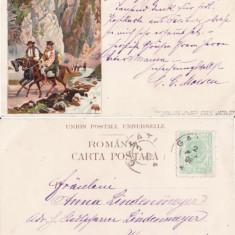 Tipuri- Port national roman -Dambovicioara, Arges - litografie, rara