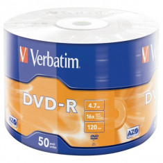 DVD-R Verbatim capacitate 4,7 GB, viteza scriere 16x, cake 50 bucati