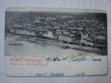 Carte postala circulata la Orsova in anul 1900 - panoramica BUDAPESTA, Ungaria, Printata