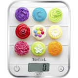 Cantar de bucatarie Tefal Optiss Delicious Cupcakes BC5122V0, sticla, 5 kg, functie de cantarire a lichidelor, alb