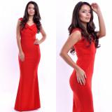 Rochie eleganta de seara lunga rosie cu decolteu in V