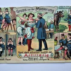 Carte Postala Militara, Germania 1908: Caricaturi - Recrutare - Artilerie