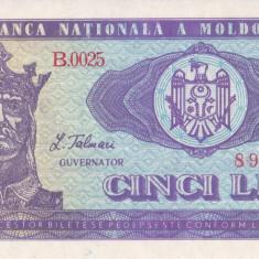 Bancnota Moldova 5 Lei 1992 - P6 UNC