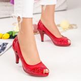 Pantofi cu toc dama rosii MDL00861
