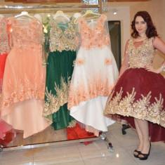 Rochie de seara ,extravaganta stil clopot in nuanta de rosu
