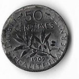 Moneda 50 centimes 1909, arsa/murdara - Franta, 2,5 g argint 0,835, Europa