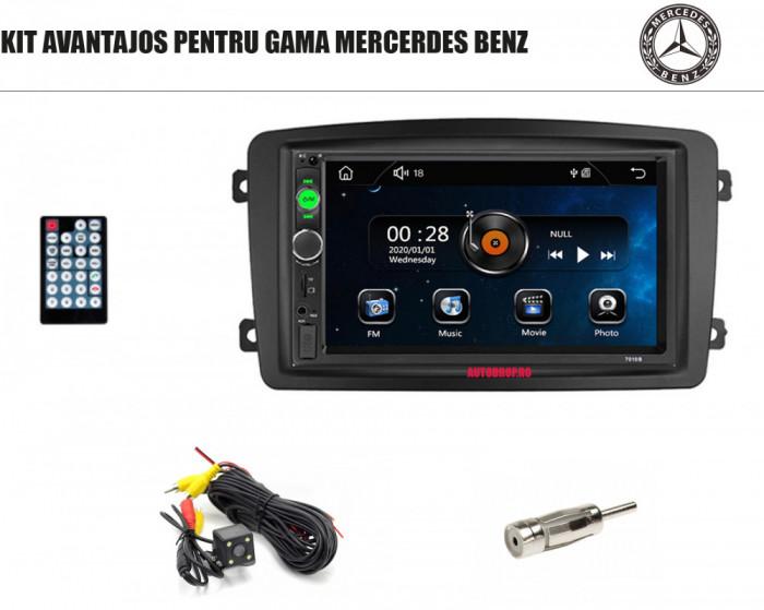 [KIT] MP5 Player pentru Mercedes Benz, WinCE, Bluetooth, USB, CardSD, Camera Marsarier, Auxiliar, Mirrorlink, Touchscreen - AD-BGPMB7010B