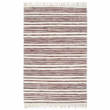 Covor Chindi țesut manual, vișiniu și alb, 80 x 160 cm, bumbac, vidaXL