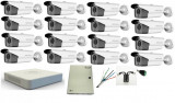Cumpara ieftin Kit 16 camere supraveghere Full HD 2MP 1080p HikVision, Exterior + DVR Turbo HD 16 canale + Sursa + Cablu + Mufe