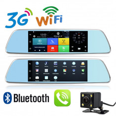 "Oglinda Auto Multimedia cu Navigatie GPS, Display 7 "" inch, Touchscreen, Internet 3G, Camera DVR, Sistem Android +Card 16GB si Camera Video Marsarier"