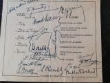Meniu invitatie 1935, delegatia romaneasca la Congresul vinului,28 aug 1935