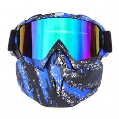 Masca protectie fata, plastic dur+ochelari ski, lentila multicolora, model MDB04