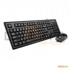 Kit A4TECH: Tastatura KRS-85 + Mouse OP-720-B USB, Black