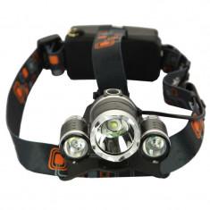 Lanterna frontala, 3 x Led Cree-XML T6, 6000 lumeni