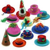 Cumpara ieftin Palarie carnaval, coif pentru petrecere, forme si dimensiuni diferite, set 12 accesorii party Halloween