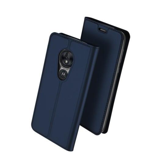 Husa Carte Dux Ducis Anti Amprenta pentru Motorola Moto G7 Power Albastru