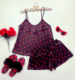 Pijama dama ieftina primavara-vara neagra din satin lucios cu imprimeu buline roz