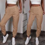 Cumpara ieftin Pantaloni dama lungi de tip jogger din bumbac crem cu elastic si buzunare
