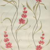 Tapet floral, rosu, alb, dormitor, lavabil, 126104