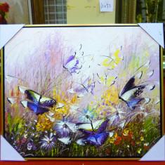 Tablou pictat manual pe panza in ulei Fluturi A-268, Natura, Realism