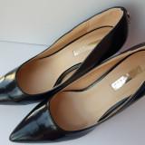 Pantofi negri eleganti pantofi dama toc subtire marime 39 stiletto varf ascutit, 39 1/3, Negru, Cu toc