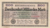 Germania  200  Milliarden Mark 15.10.1923  P.121a,  Ro.121b  VF