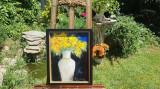 "PICTURA,TABLOUmodern romanesc,decorativ,""Flori galbene"", nou, rama deosebita"