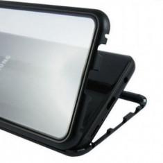 Husa protectie pentru Samsung Galaxy S7 Edge Magnetica Negru cu spate de sticla securizata premium + folie de protectie ecran gratis