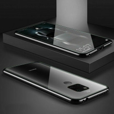Husa magnetica pentru Huawei Mate 20 Pro din sticla securizata fata/ spate, 360 grade, negru, Gonga