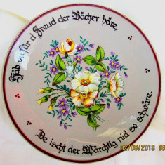 Ceramica Langnauer pictata manual, semnataUlrich Kohler.D 24cm/628 gr.