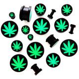 Plug din acrilic cu motiv marijuana - Lățime: 20 mm